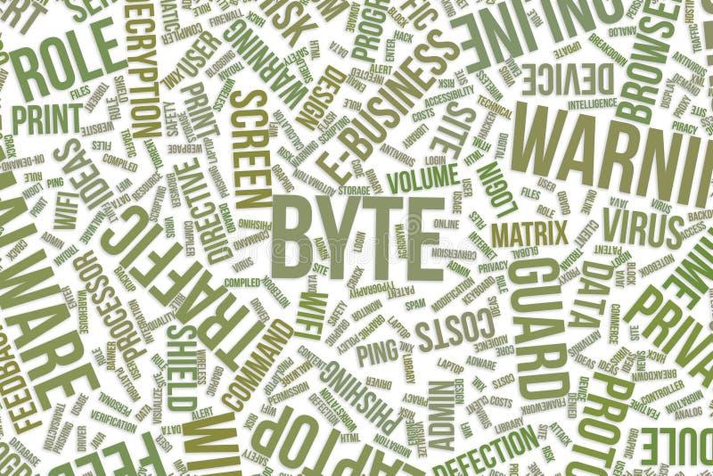 Byte, conceptuele woordwolk voor zaken, informatietechnologie of IT stock illustratie