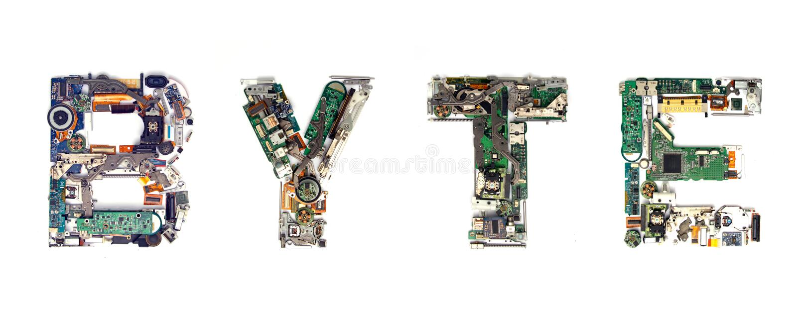 Byte electronic. The word BYTE made with letters that are made of computer parts stock image