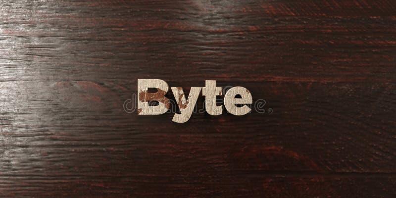 Byte - grungy houten krantekop op Esdoorn - 3D teruggegeven royalty vrij voorraadbeeld vector illustratie