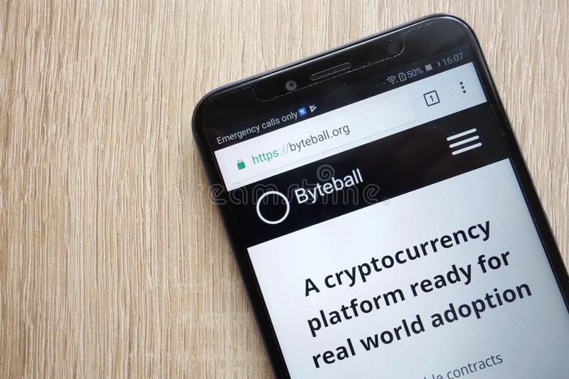 Byteball Bytes GBYTE cryptocurrency website displayed on Huawei Y6 2018 smartphone. KONSKIE, POLAND - JULY 08, 2018: Byteball Bytes GBYTE cryptocurrency website stock image