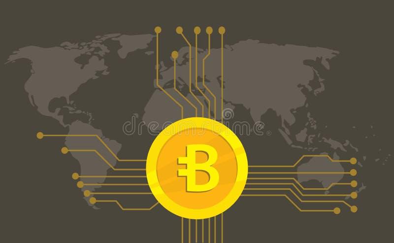 Bytecoin-cryptocurrency Marken-Ikonenwahl mit goldener Münze und elektronischer Punkt mit Weltkartehintergrund lizenzfreie abbildung