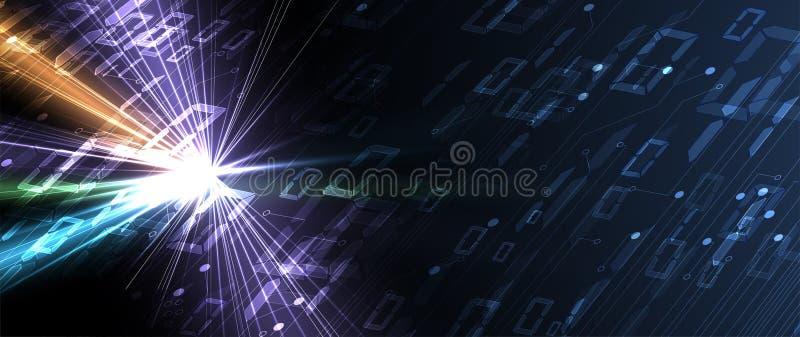 Bytes del funcionamiento del código binario a través de la red Syberspace futurista abstracto de la tecnología libre illustration