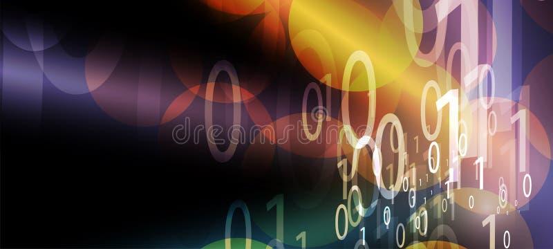 Bytes des binär Code-Laufs durch Netz Abstraktes futuristisches Technologie syberspace stock abbildung