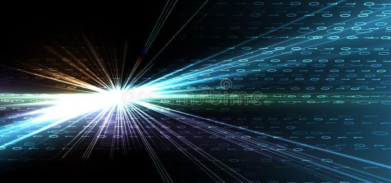Bytes des binär Code-Laufs durch Netz Abstraktes futuristisches Technologie syberspace lizenzfreie abbildung