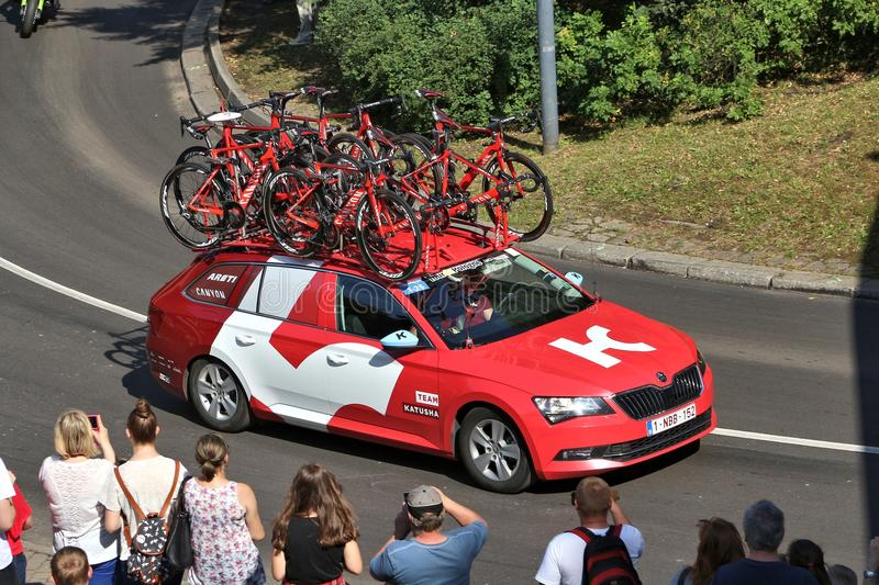 Team Katusha. BYTOM, POLAND - JULY 13, 2016: Team vehicle drives in Tour de Pologne bicycle race in Poland. Skoda Superb of Team Katusha royalty free stock photo