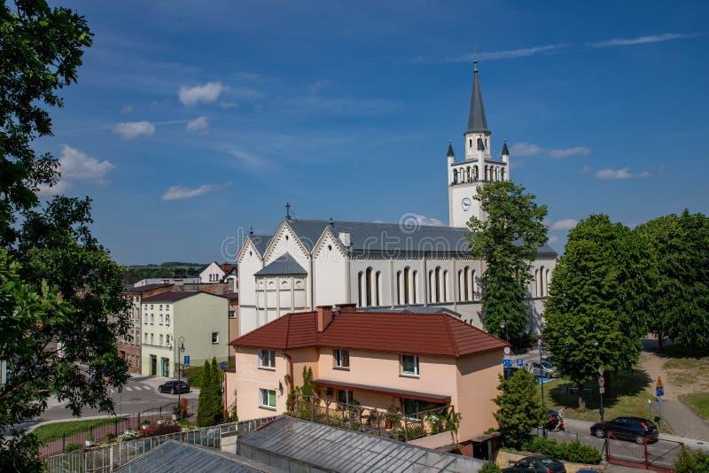 Bytow, pomorskie / Poland - June, 06, 2019: City of Bytow, Roman Catholic Church of the Holy Trinity St. Catherine of Alexandria stock image