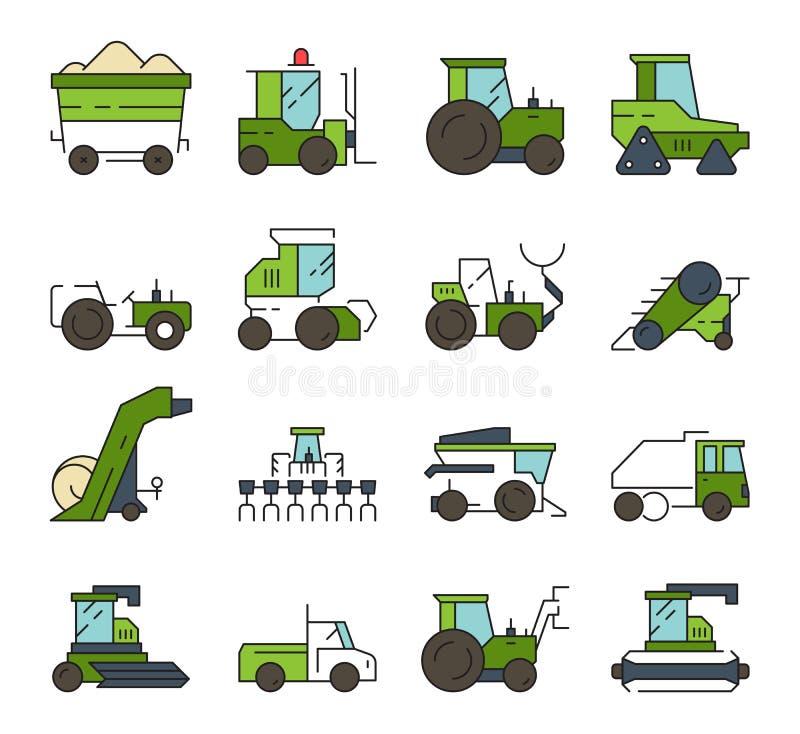 Bytransport Lantgårdmaskiner och för grävareladdare för teknik automatisk tung vektor för traktor för skördearbetare för bulldoze stock illustrationer
