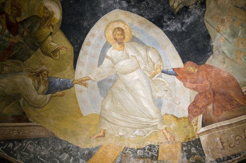 Byzantijnse fresko van Christus die Adam en Vooravond doen herleven stock fotografie