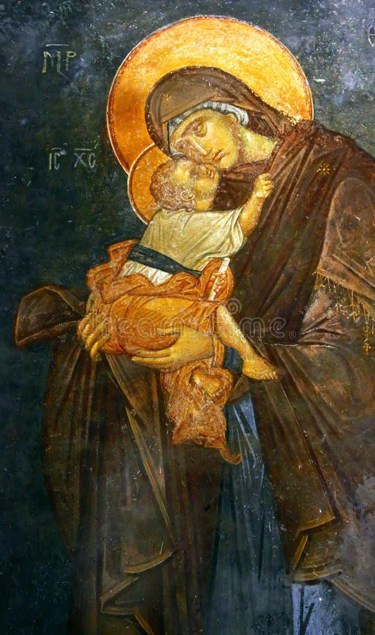 Byzantijnse fresko van het kind van Mary en van Jesus, Istanboel stock foto