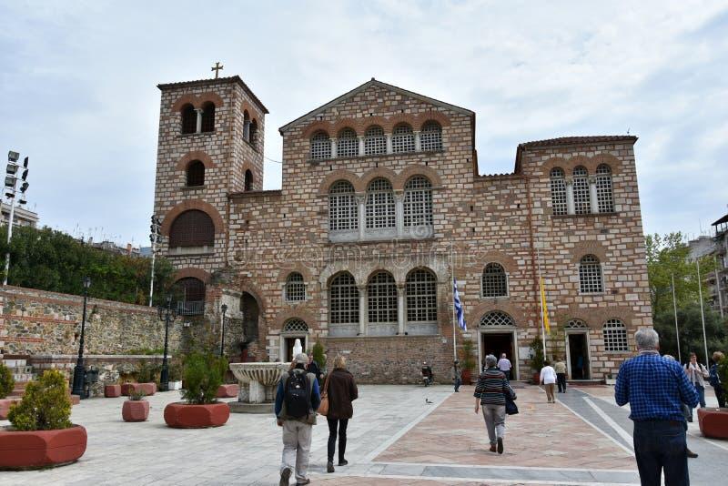 Byzantijnse orthodoxe kerk van Aghios Demetrios in Thessaloniki, G royalty-vrije stock afbeelding