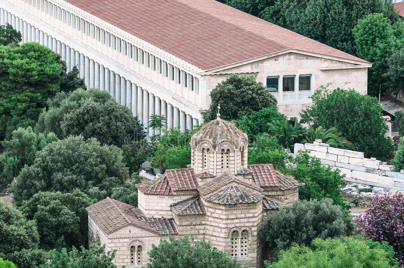 Byzantijnse steentempel in Athene stock afbeeldingen