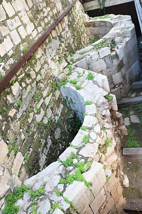Byzantine basement of modern mosque in Limassol, Cyprus stock photo