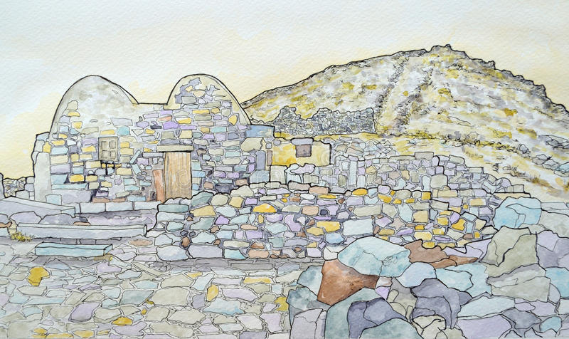 The byzantine chapel at ancient Thira Santorini Greece. royalty free stock image