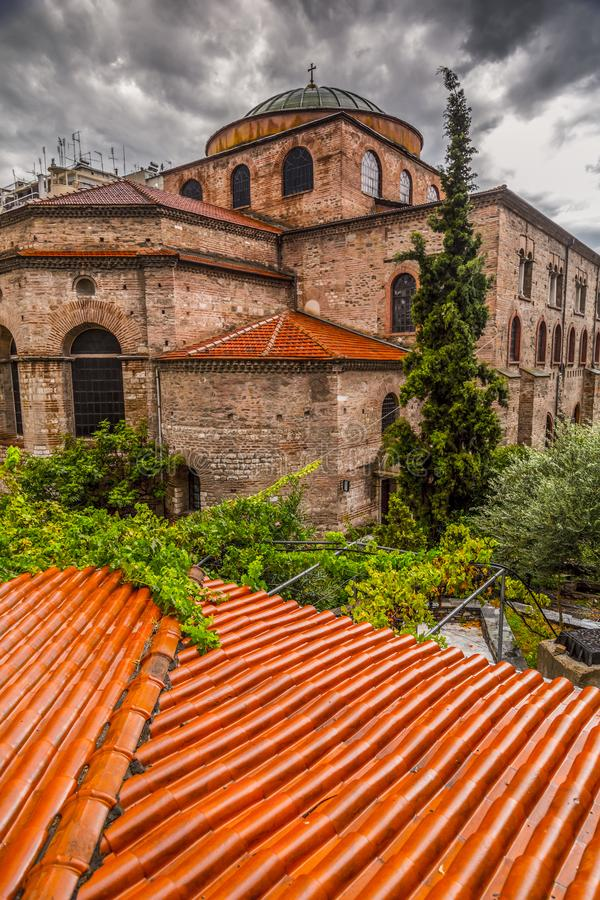 Byzantine chuch of Hagia Sophia or Agias Sofias in Thessaloniki, Greece. Exterior view of the Byzantince chuch of Hagia Sophia or Agias Sofias in Thessaloniki stock image