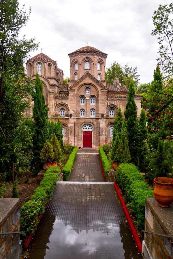 Byzantine chuch of Hagia Sophia or Agias Sofias in Thessaloniki, Greece. Exterior view of the Byzantine chuch of Panagia Chalkeon in Thessaloniki, Greece stock photo