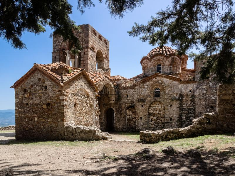 Byzantine Church of Agia Sofia in Mystras, Greece. Mystras is ruins of medieval capital of Byzantine empire and a UNESCO Worlds Heritage Site royalty free stock photo