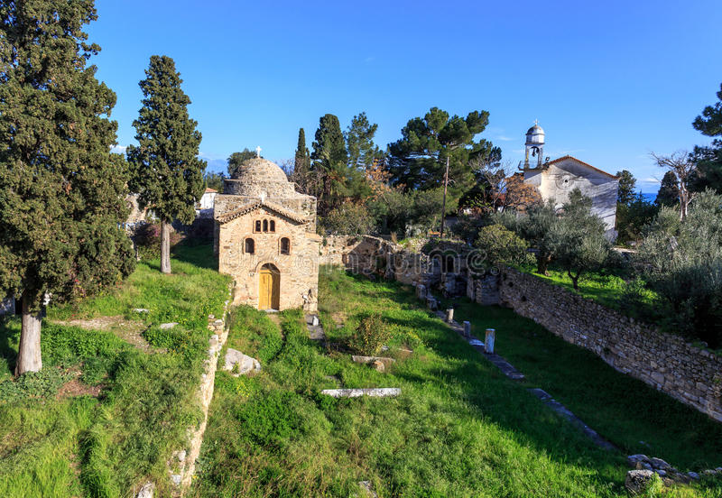 Byzantine church on ancient temple ruins near Koroni, Peloponnese stock images