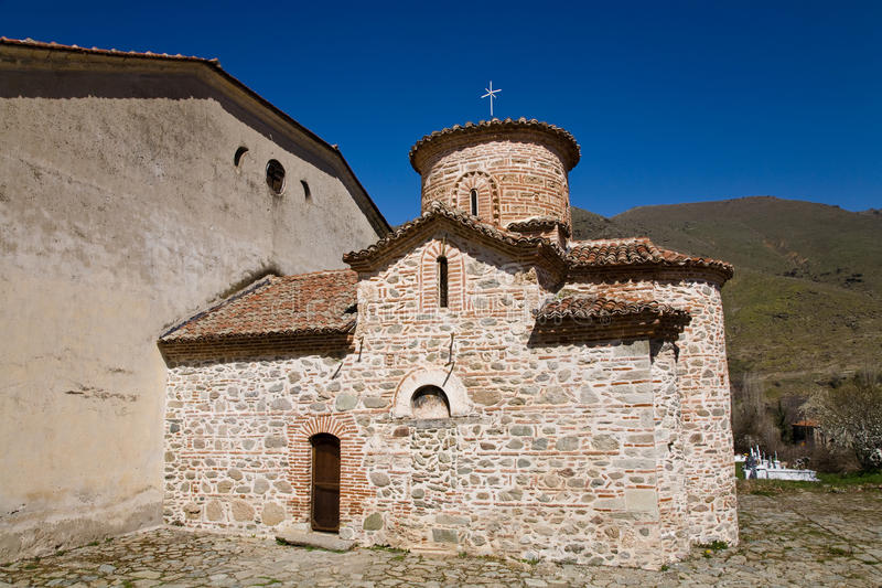 Byzantine church, Greece stock images