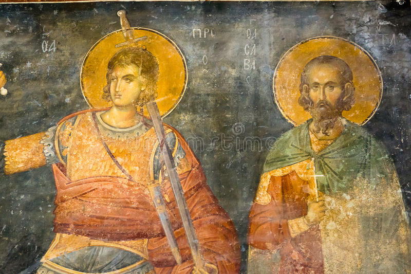 Byzantine fresco. Procopius of Scythopolis and Sabbas Stratelates stock photos