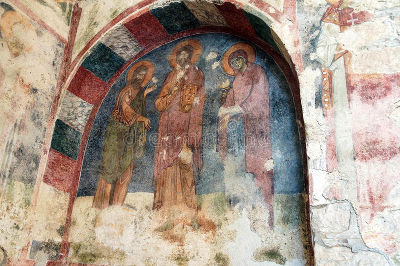 Byzantine frescoes of saints royalty free stock image