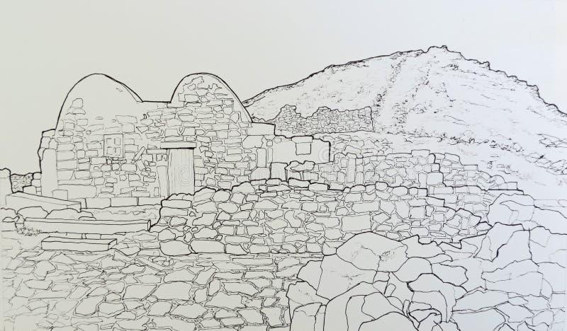 Byzantine kaplica przy antycznym Thira Santorini Grecja ilustracji