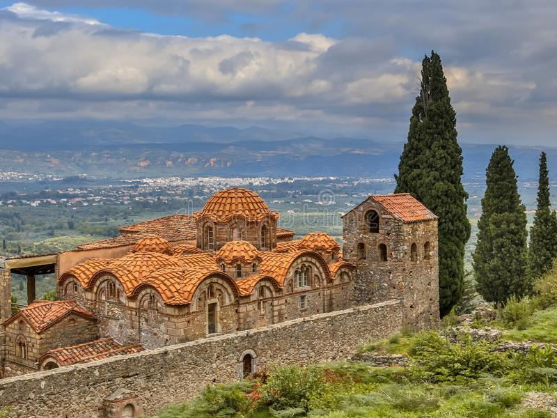 Byzantine monastery in Mystras Peloponnese Greece stock images