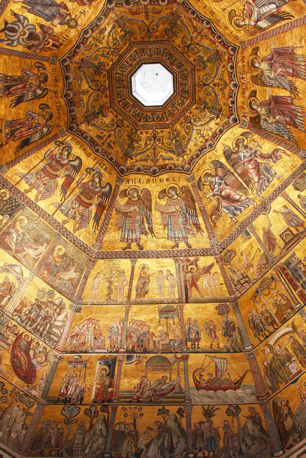 Byzantine mosaic in baptistery in Florence royalty free stock photography