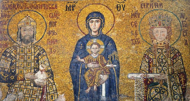 Byzantine mosaic in Hagia Sophia, Istanbul. stock image