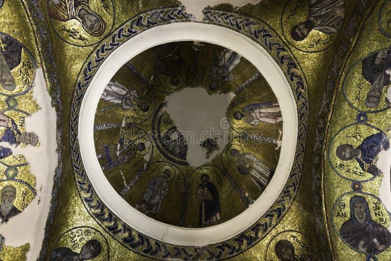 Byzantine mosaic icon in Nea Moni, New Monastery royalty free stock photo