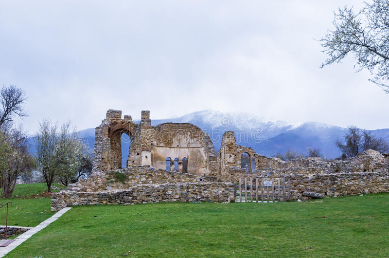Byzantine ruins in Agios Achilios island, Small Prespa lake, Florina, Greece royalty free stock images