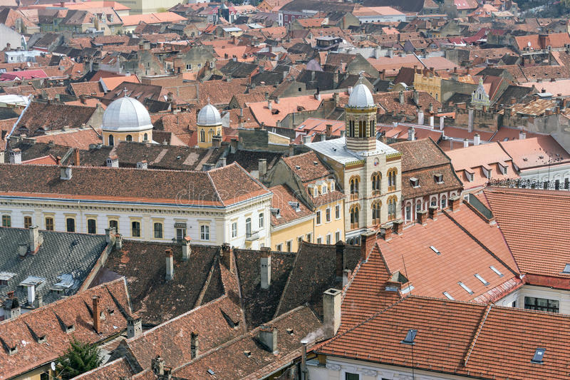 Byzantine style church in the heart of the Brasov city (aerial view) stock photography