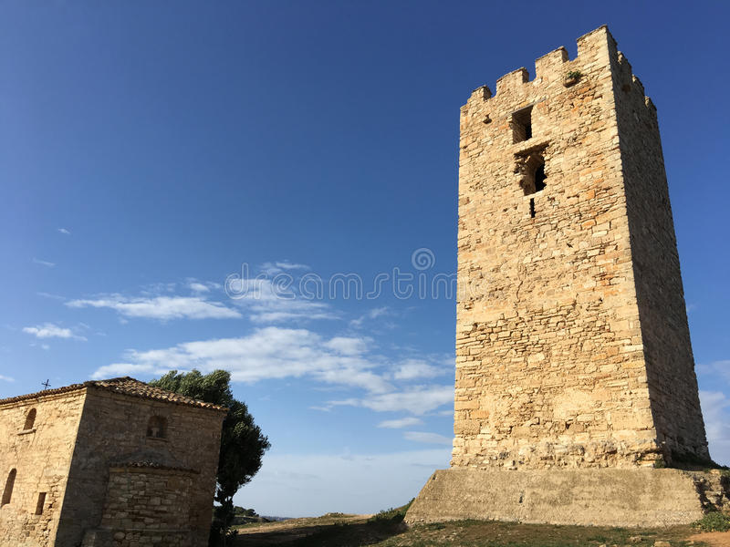 Byzantine Tower. In Nea Fokea Greece royalty free stock photos