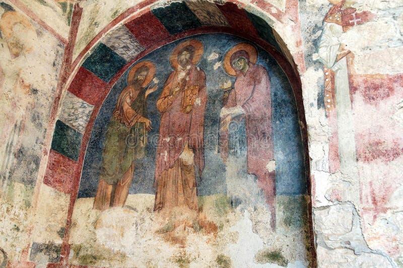 Byzantinische Freskos von Heiligen lizenzfreies stockbild