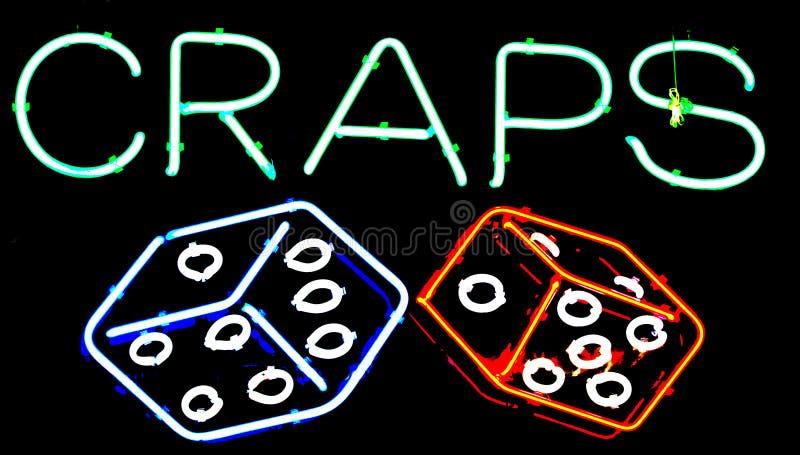 Bzdury i kostki do gry uprawia hazard neonowego znaka fotografia royalty free