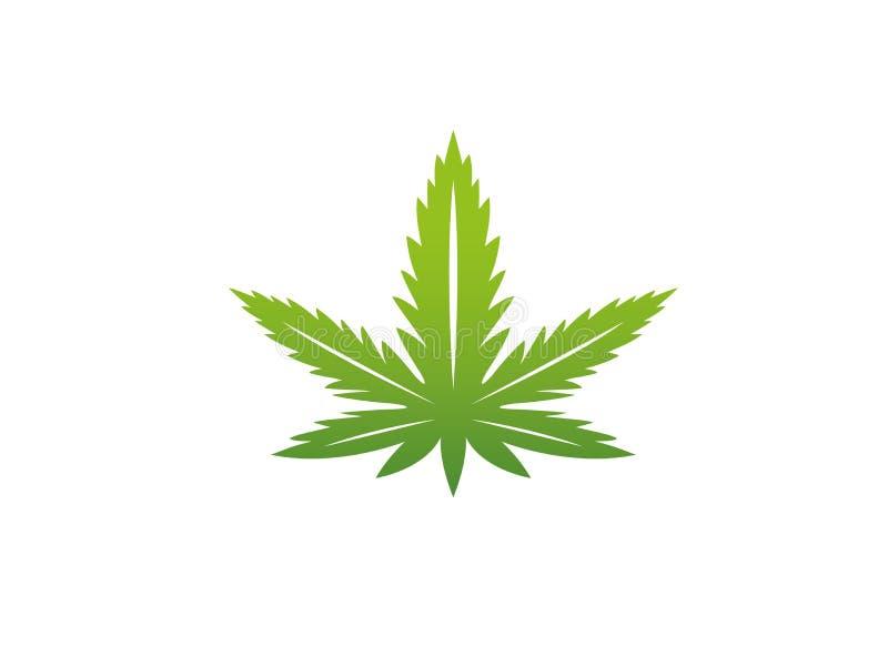 Cáñamo médico del cáñamo de la marijuana para el ejemplo del diseño del logotipo stock de ilustración