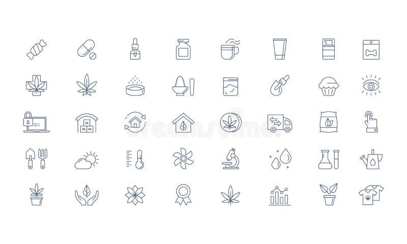 Cáñamo, productos de la marijuana CBD, sistema cada vez mayor del icono del vector ilustración del vector