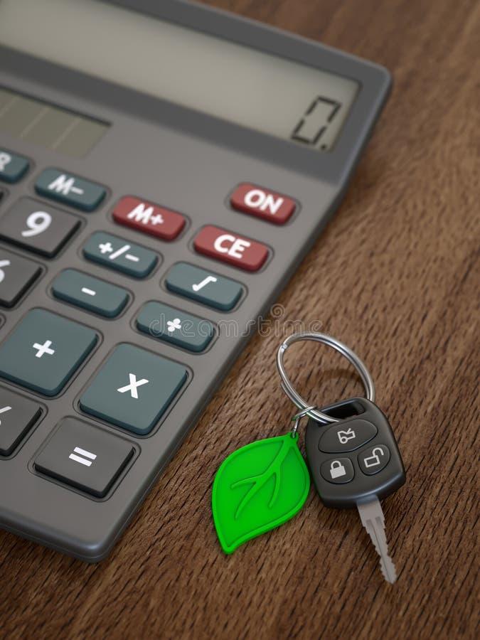Cálculo das despesas do carro híbrido ou bonde foto de stock