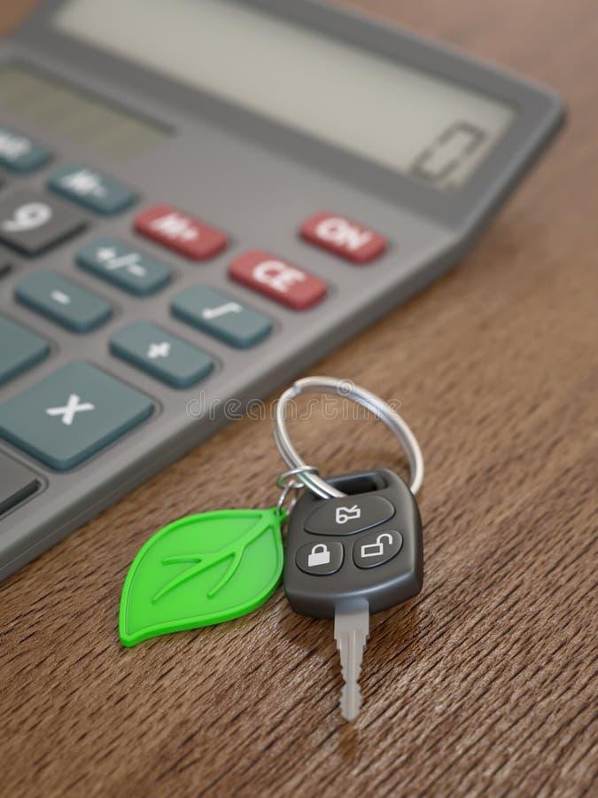 Cálculo das despesas do carro híbrido ou bonde imagem de stock royalty free