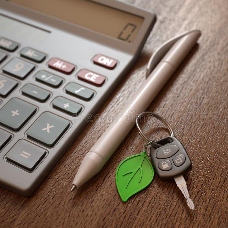 Cálculo das despesas do carro híbrido ou bonde imagem de stock