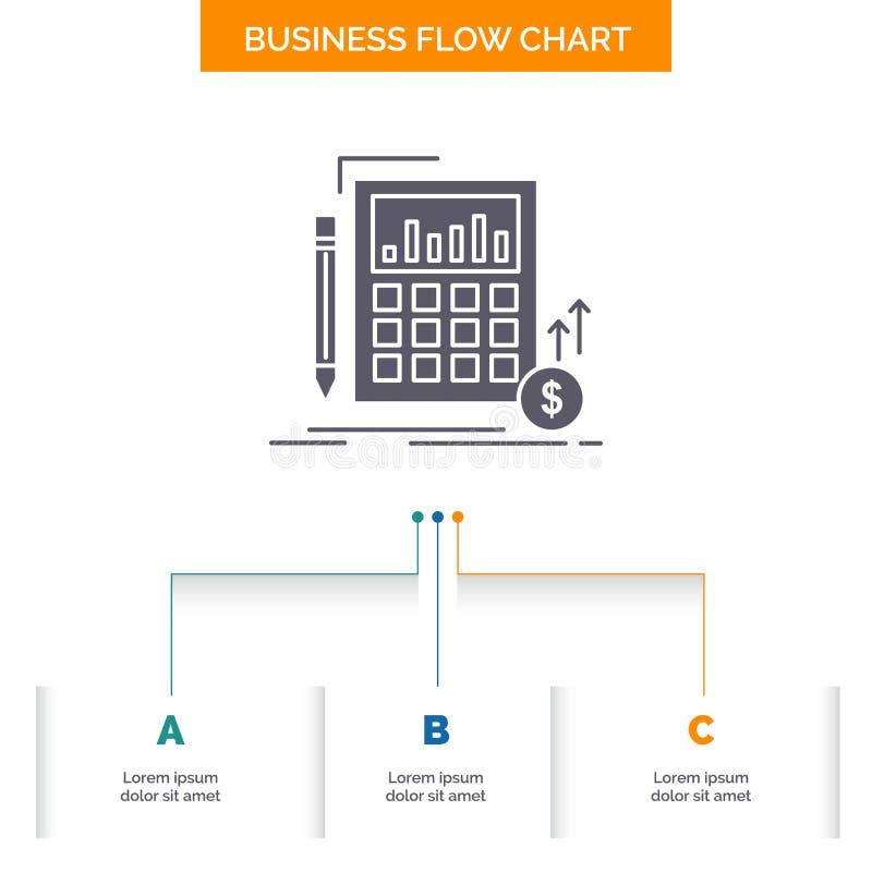 Cálculo, datos, financieros, inversión, diseño del organigrama del negocio del mercado con 3 pasos Icono del Glyph para el fondo  ilustración del vector
