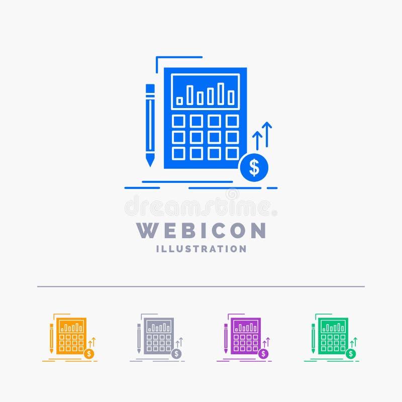 Cálculo, datos, financieros, inversión, plantilla del icono de la web del Glyph del color del mercado 5 aislada en blanco Ilustra ilustración del vector