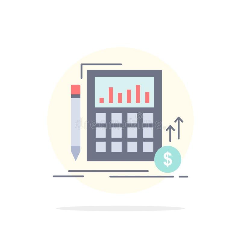 Cálculo, datos, financieros, inversión, vector plano del icono del color del mercado libre illustration
