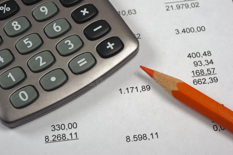 Cálculo de negócio financeiro com conta imagens de stock