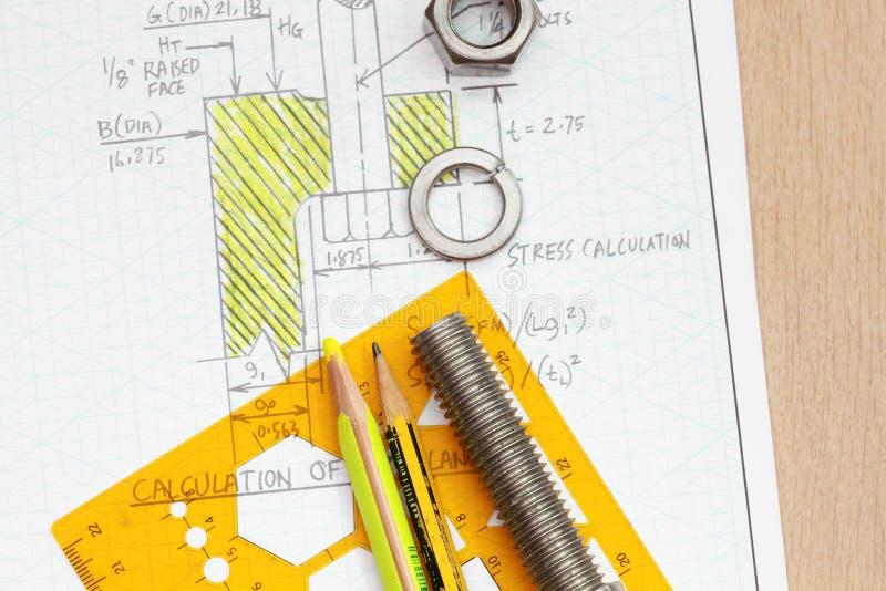 Cálculo de parafusamento da flange fotografia de stock