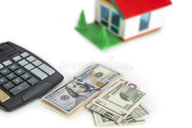 Cálculo de un dinero del ahorro para una casa Concepto de la hipoteca imagen de archivo libre de regalías