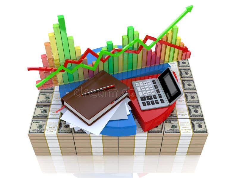 Cálculo e análise do mercado financeiro ilustração stock