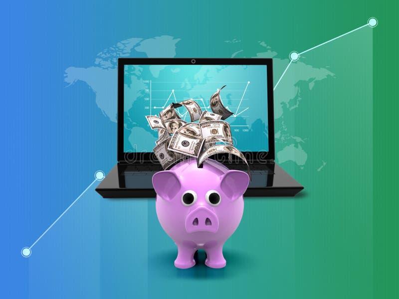 Cálculo financeiro em linha da renda e do dólar Portátil, dinheiro e gráfico, crescimento no fundo verde azul 3d ilustração royalty free