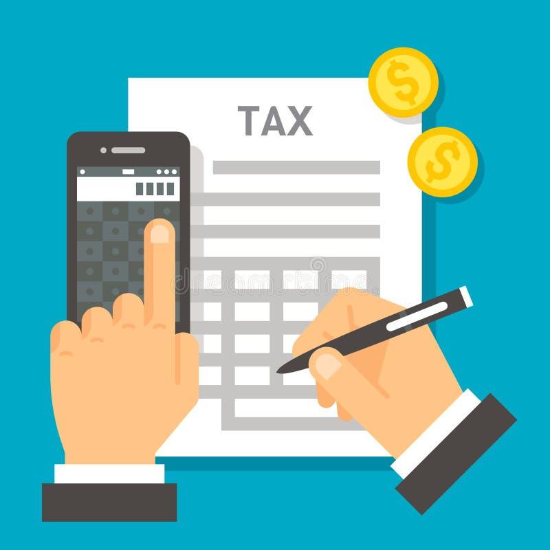 Cálculo plano del impuesto del diseño stock de ilustración
