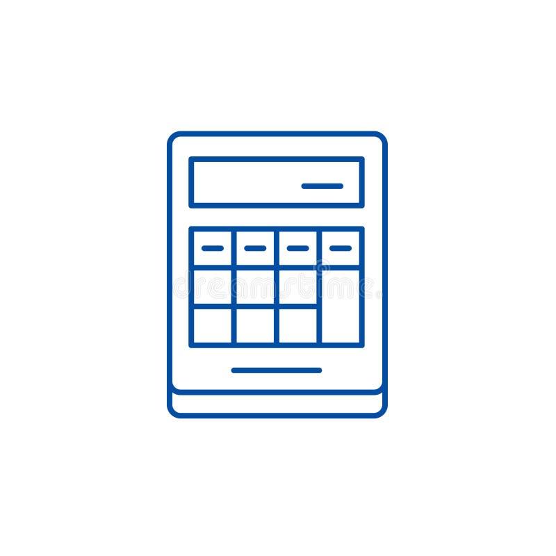 Cálculo sobre la línea concepto de la calculadora del icono Cálculo sobre el símbolo plano del vector de la calculadora, muestra, stock de ilustración