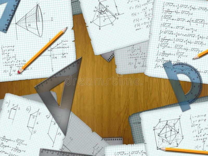 Cálculos de la matemáticas de la escuela sobre un escritorio de madera ilustración del vector
